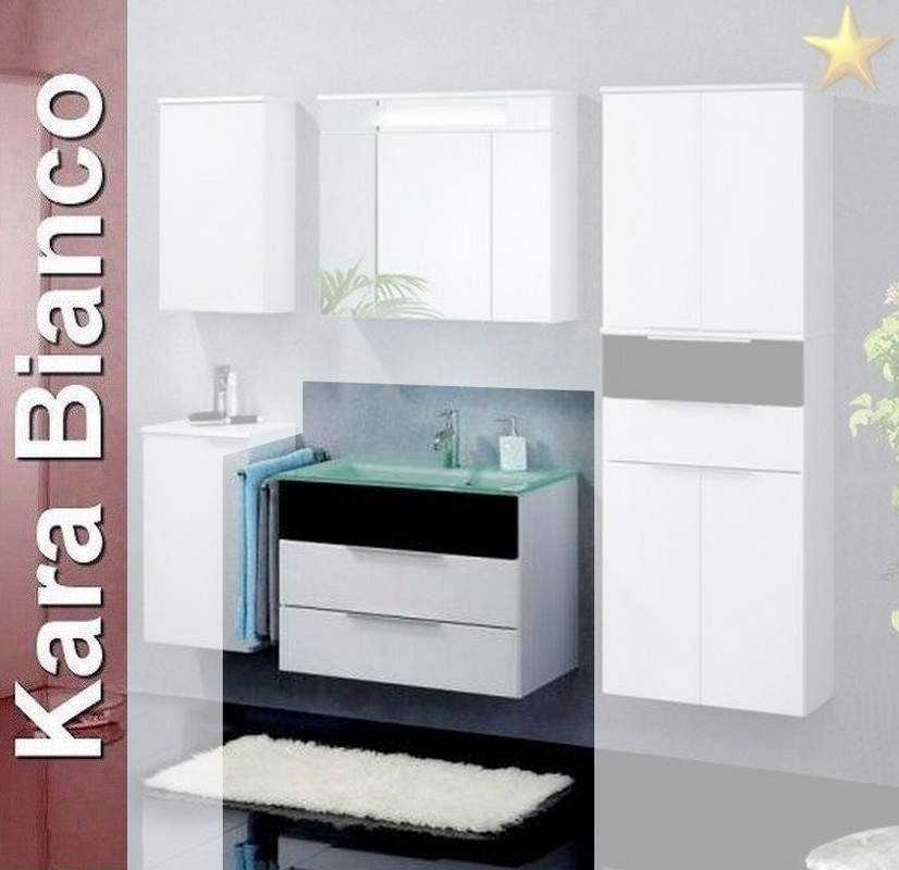 fackelmann badm bel kara bianco waschplatz 1 mit glasbecken. Black Bedroom Furniture Sets. Home Design Ideas