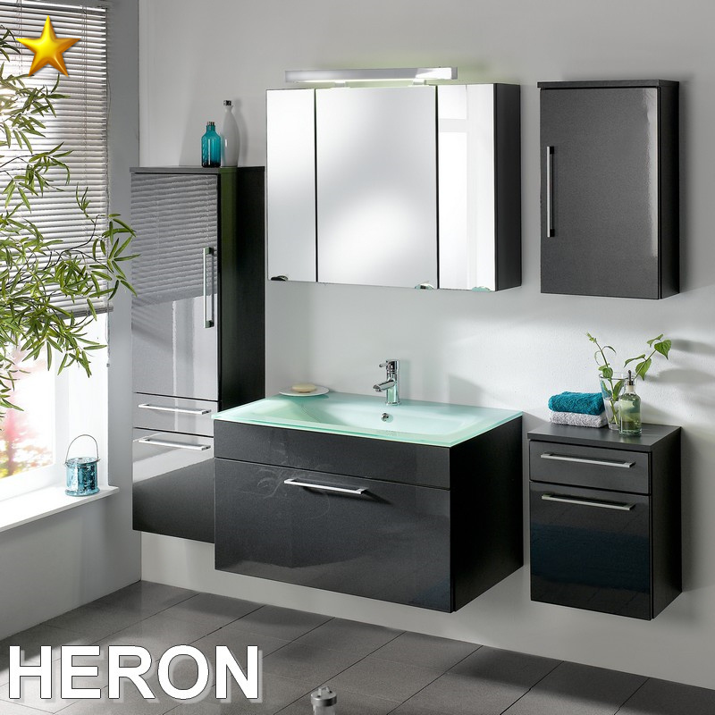 posseik heron set 1 in anthrazit hochglanz mit glasbecken in aquamarin ebay. Black Bedroom Furniture Sets. Home Design Ideas