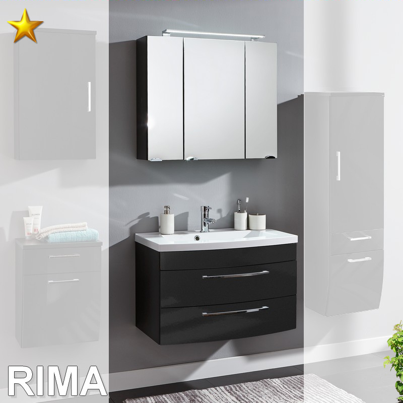 posseik rima set 15 in anthrazit hochglanz badm bel waschplatz neu. Black Bedroom Furniture Sets. Home Design Ideas