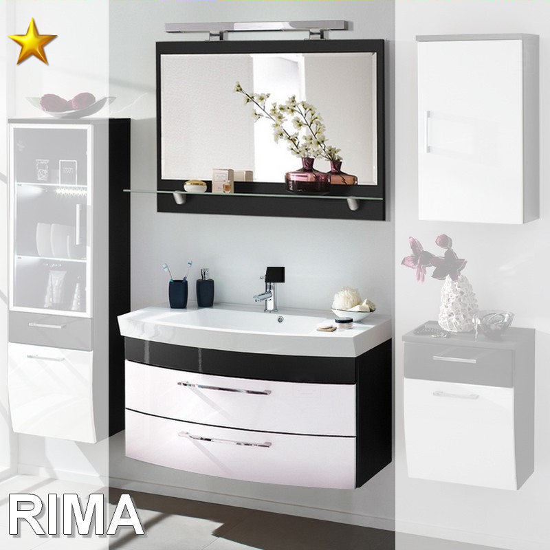 posseik rima badm bel badezimmer m bel set 28 in anthrazit wei hochglanz ebay. Black Bedroom Furniture Sets. Home Design Ideas