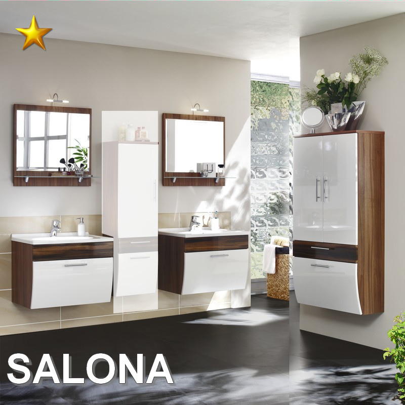 Posseik Badmobel Set Salona.Posseik Badmobel Salona Set 2 In Walnuss Weiss Hochglanz