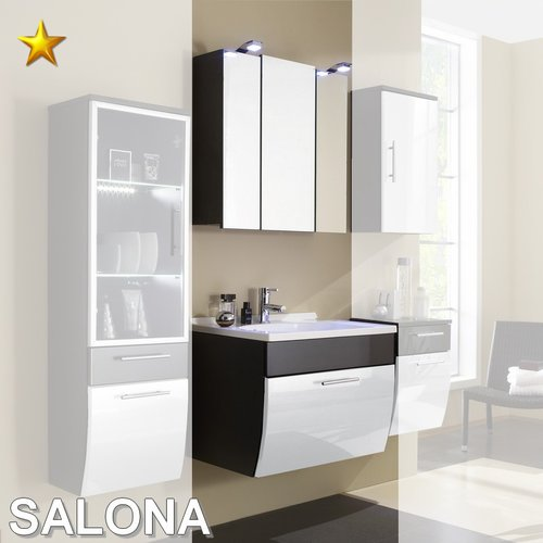 Posseik Badmöbel Salona Set 6 in Anthrazit-Weiß Hochglanz 70 cm