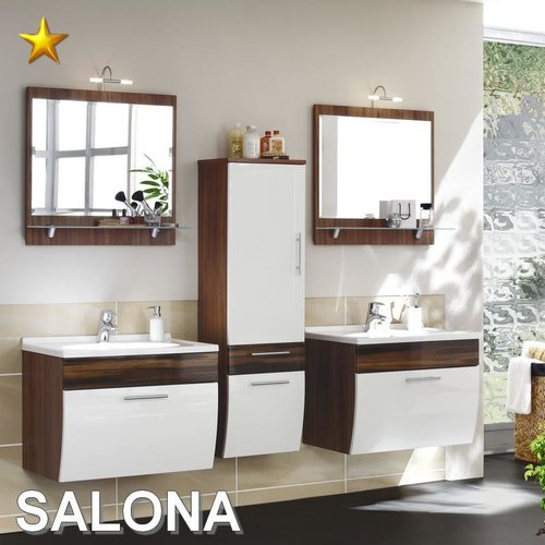 Posseik Badmobel Set Salona.Posseik Badmobel Salona Set 3 In Walnuss Weiss Hochglanz