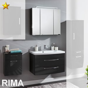 Posseik Rima Set 14 in Anthrazit-Hochglanz