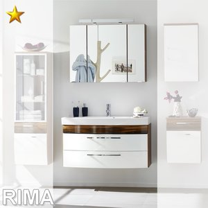 Posseik Rima Set 6 in Weiß-Hochglanz Walnuss Dekor