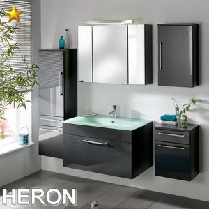 Posseik Heron Set 1 in Anthrazit-Hochglanz mit Glasbecken...