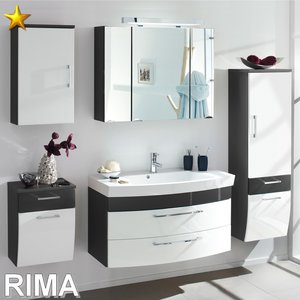 Posseik Rima Set 2 in Anthrazit-Weiß-Hochglanz