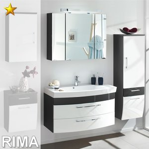 Posseik Rima Set 7 in Anthrazit-Weiß-Hochglanz