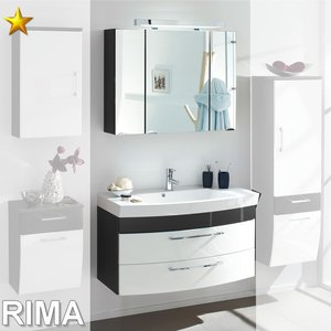 Posseik Rima Set 8 in Anthrazit-Weiß-Hochglanz