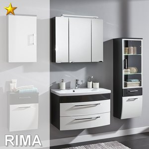 Posseik Rima Set 9 in Anthrazit-Weiß-Hochglanz inkl....