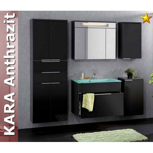 fackelmann badm bel kara anthrazit set 6 mit glasbecken. Black Bedroom Furniture Sets. Home Design Ideas